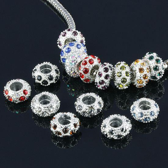 DIY 11.5mm Diamond Bead Spacer Silver Plated Mix Colors rhinestones balls jewelry finding 100Pcs/lot