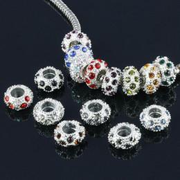 $enCountryForm.capitalKeyWord Canada - DIY 11.5mm Diamond Bead Spacer Silver Plated Mix Colors rhinestones balls jewelry finding 100Pcs lot