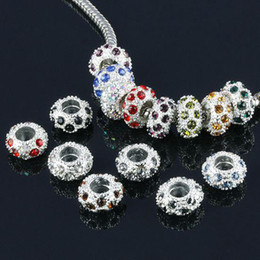 Wholesale Spacer Findings - DIY 11.5mm Diamond Bead Spacer Silver Plated Mix Colors rhinestones balls jewelry finding 100Pcs lot