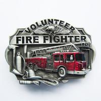 Wholesale western women belts - New Vintage Enamel Western Volunteer Firefighter Fire Belt Buckle Gurtelschnalle Boucle de ceinture BUCKLE-WT007 Brand New Free Shipping