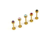 Wholesale Gem Monroe - Wholesale Stainless Steel 16g 14K Gold Plated Labret Monroe Lip Ring & Tragus with Gem Top, Body Piercing Jewelry