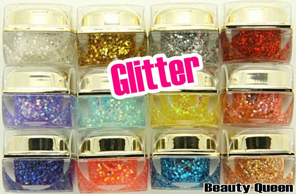 8ml Mix Colors GLITTER ROUND SHEETS & POWDER UV Builder Gel kit set for Nail Art