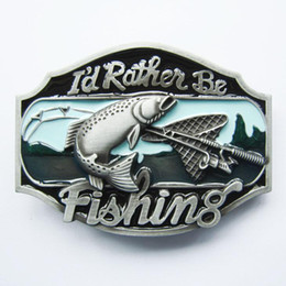 Wholesale Fishing Belt Buckle - New Vintage Rather Be Fishing Fish Belt Buckle Gurtelschnalle Boucle de ceinture BUCKLE-WT054 Brand New Free Ship
