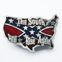 Wholesale novelty rebel flags online - New Vintage South Rise Again Rebel Confederate Map Flag Cross Star Belt Buckle Gurtelschnalle Boucle de ceinture BUCKLE WT079
