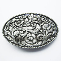 Wholesale Western Floral Belt Buckle - New Vintage Western Cowboy Cowgirl Flower Oval Belt Buckle Gurtelschnalle Boucle de ceinture BUCKLE-WT097AS Brand New Free Ship