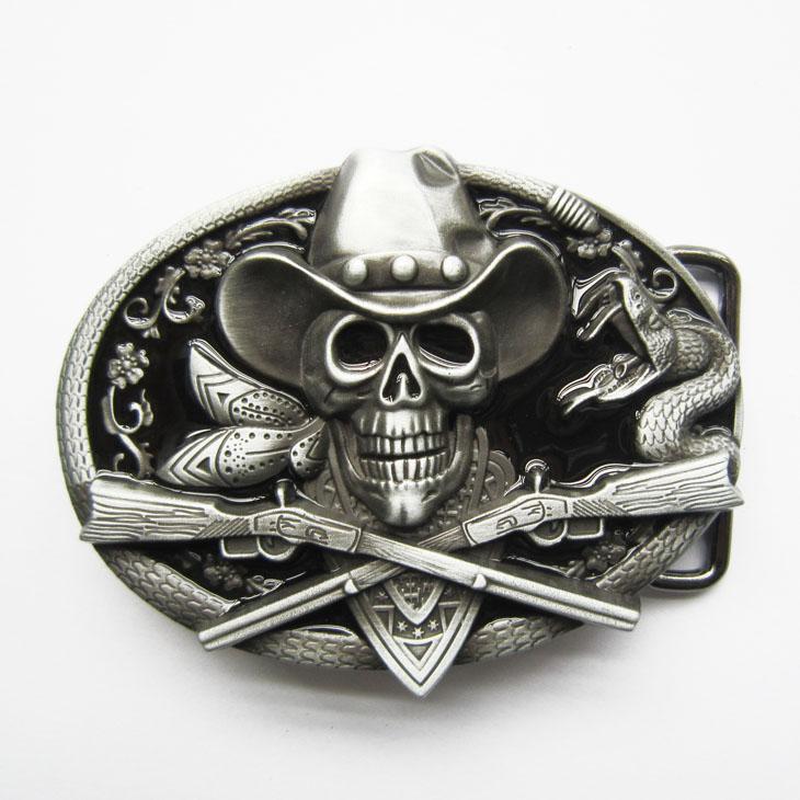 New Western Rodeo Cráneo Cowboy Black Enamel Oval Vintage Belt Buckle BUCKLE-SK036BK Nuevo Envío gratis