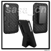 Wholesale Hard Rubber Iphone Holster - Rubber Hard Shell Case Slide-in Holster Combo Cover With Built-in Kickstand For iPhone 4 4G