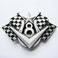 Wholesale Vintage Engines - Vintage Vehicle V8 Engine Checkered Flag Belt Buckle CS026 Free Shipping Brand New In Stock