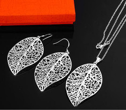 Wholesale Cheap Christmas Necklace Sets - pretty cheap price noble Free shipping 925 silver fashion charm Leaves Earring necklace set jewelry Christmas gifts