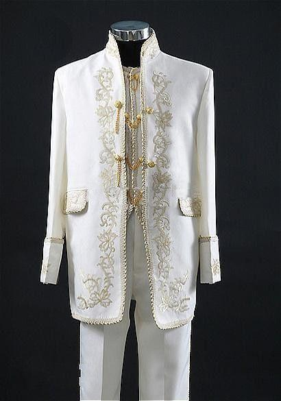 New Mens Ivory And Gold Embroidery Complete Designer Suit