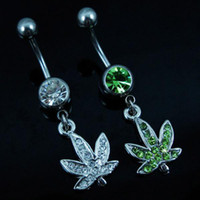 Wholesale red leaf plants - D0390 ( 2 colors ) Stainless steel Body Piercing Jewelry Belly Button Navel Rings Dangle Charm Maple Leaf SS 10PCS