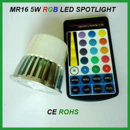 Led mr16 5w à distance en Ligne-5 PCS x Changement de couleur MR16 E27 GU10 5W LED RGB Spotlight 85-265V 12V avec télécommande pour l'éclairage de la fête à la maison