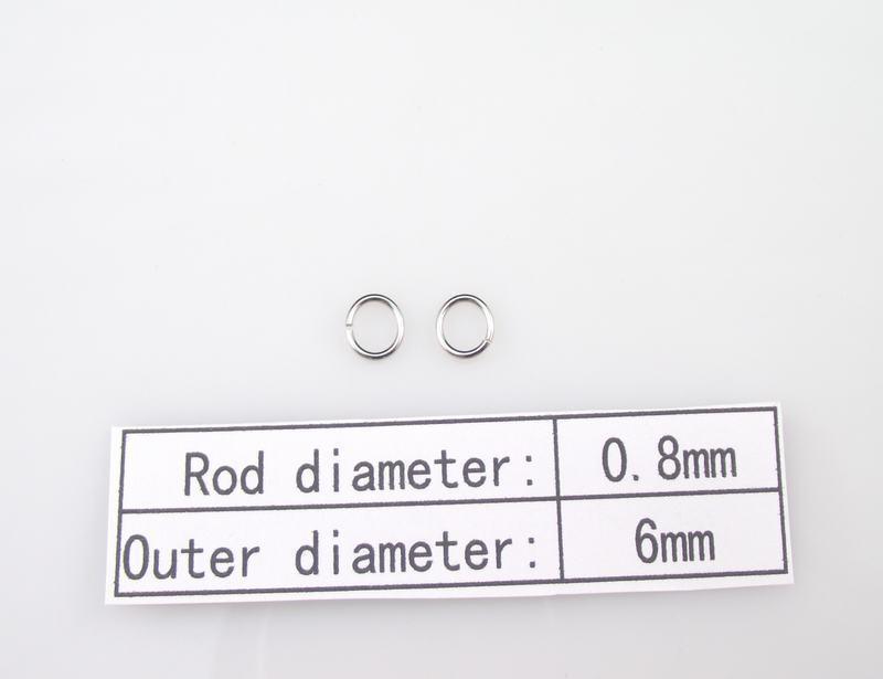 0.8x6mm 100 % 316L 스테인레스 스틸 반지 1000pcs / lot DIY 목걸이 액세서리 체인 부품 SP019