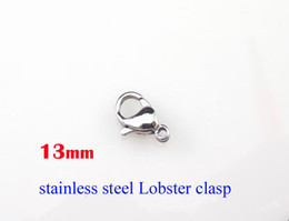Wholesale Necklaces Parts Lobster - #13mm 100% 316L stainless steel lobster clasp 100pcs lot DIY Jewelry hook necklace accessories chains parts SP012