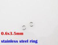 botones de piedras preciosas rojas al por mayor-0.6x3.5mm 100% anillos de acero inoxidable 316L 1000 unids / lote DIY collar accesorios cadenas de piezas SP022