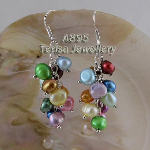 Magnifique mélange de bijoux en argent sterling 925 avec boucle d'oreille en perles de verre pour femmes pendantes avec boucle d'oreille A895