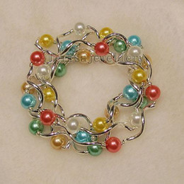 Wholesale Fashion Jewery - beautiful AA 8MM mother-of-pearl mixes color Elastic bracelet 7.5inch fashion woman's jewery A1450