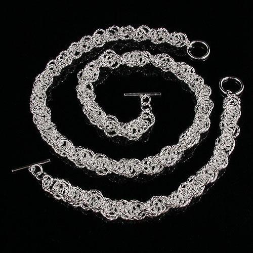 new style Man's 925 sterling silver necklace bracelet jewelry set wholesale A1496