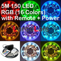5M impermeabile 150LED + Power + IR camion dell'automobile a distanza auto flessibile SMD 5050 RGB LED delle luci Led Light 150