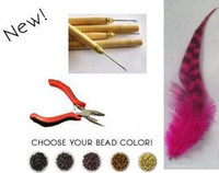 Wholesale Hair Feather Kit Pliers - Natural Feather Extension Kit Feathers Extensions 500 pieces + 500pcs beads free 1 pliers+ 1 needle