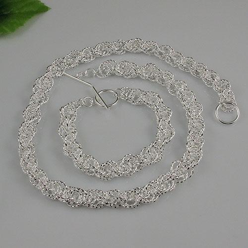 Ny stil mans 925 sterling silver halsband armband smycken set gratis frakt grossist A1496