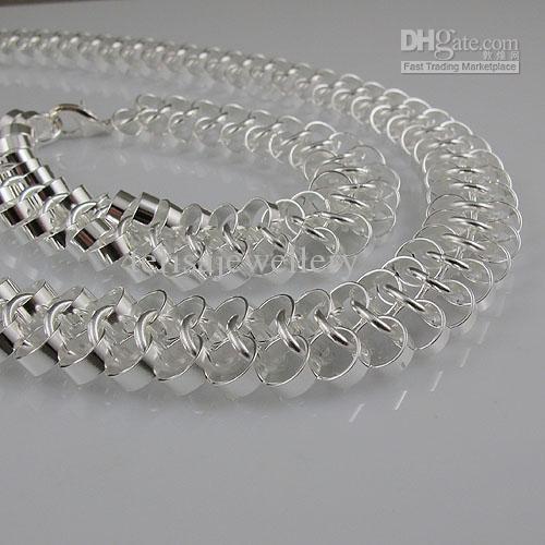 Människans 925 Sterling Silver Halsband Armband Kvinnors Smycken Set Gratis Frakt Partihandel A1499