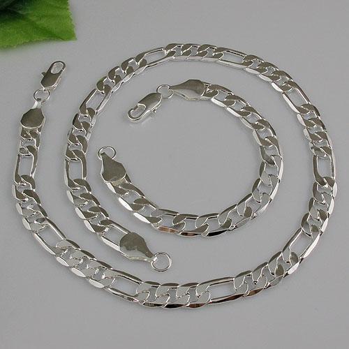 Man's 925 Sterling Silver Naszyjnik Bransoletka Zestaw Biżuterii Damska Darmowa Wysyłka Hurtownie A1498