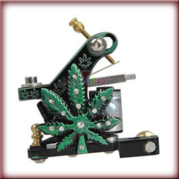 Wholesale Tattoo Machine Green Coils - Green Leaves Design Tattoo Machine Gun for Shader and Liner 10 Wrap Coil