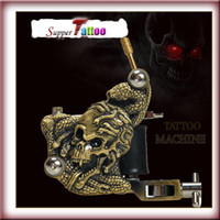 Wholesale Brass Tattoo Guns - Brass Skull Empaistic Tattoo Machine Gun for Liner and Shader 10 wrap coils