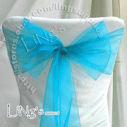 Sash aqua on-line-Número de rastreamento-atacado 50 PCS Aqua Blue Wedding Party Banquete Cadeira Organza Sash Bow