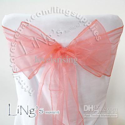 Numero di inseguimento - 50PCS all'ingrosso Aqua Blue Wedding Party Banquet Chair Organza Sash Bow