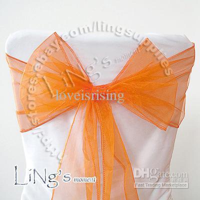 추적 번호 - 50PCS 자주색 결혼식 파티 연회 의자 Organza 장식 띠