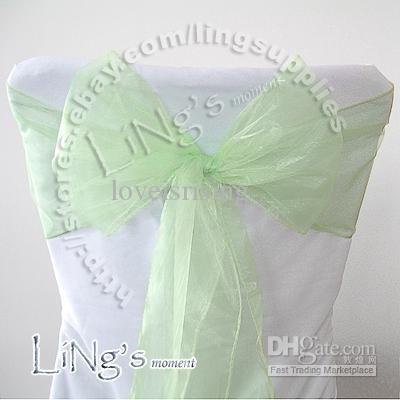 Point chaud - 50PCS Bleu turquoise Chaise de banquet de mariage Chaise Organza Sash Bow
