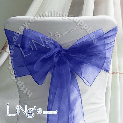 Trasporto libero - 50PCS Deep Blue Wedding Party Banquet Chair Organza Sash Bow