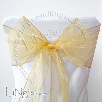 Chaude article - 50PCS GOLD Wedding Party Banquet Chaise Organza Sash Bow
