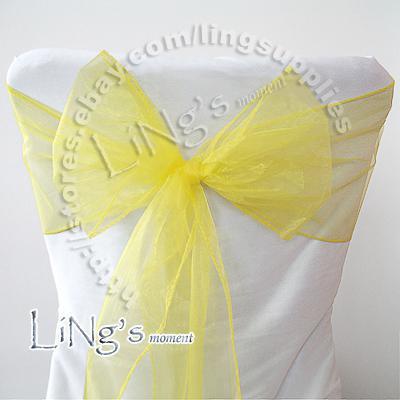 송료 무료 50PCS Organza Sash Bow 옐로우 웨딩 파티 연회 의장