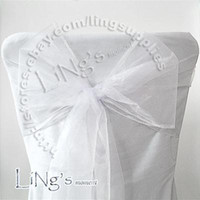 Wholesale Wholesale Prices Chairs - Lowest price--50PCS White Wedding Party Banquet Chair Organza Sash Bow