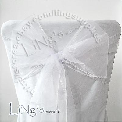 Lowest price--50PCS White Wedding Party Banquet Chair Organza Sash Bow