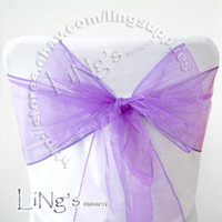 Wholesale Organza Chair Sashes Lavender - Tracking number--50PCS lavender Wedding Party Banquet Chair Organza Sash Bow