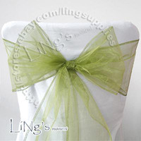 Wholesale Sage Wedding Chair Sashes - Lowest price--50PCS Sage green Wedding Party Banquet Chair Organza Sash Bow