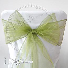 Wholesale Sage Wedding Chair Sashes - Lowest price--50PCS Sage green Wedding Party Banquet Chair Organza Sash Bow