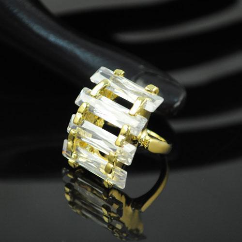 여성을위한 패션 의상 크리스탈 반지 쥬얼리 플래시 트렌드 지르콘 결혼 반지 Anitque 골드 손가락 반지 | RN-580A