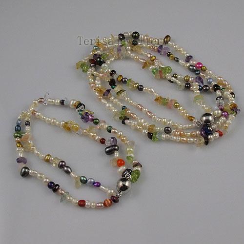 特別デザインミックスカラーパールクリスタルペリドットネックレスブレスレット女性のファッションジュエリーセットA1464
