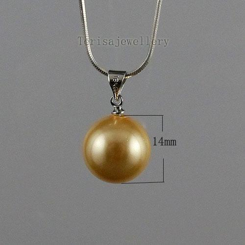 schöne Gold Champagne Perlmutt Ohrring Anhänger frei Silberkette Frau Schmuck-Set A1470