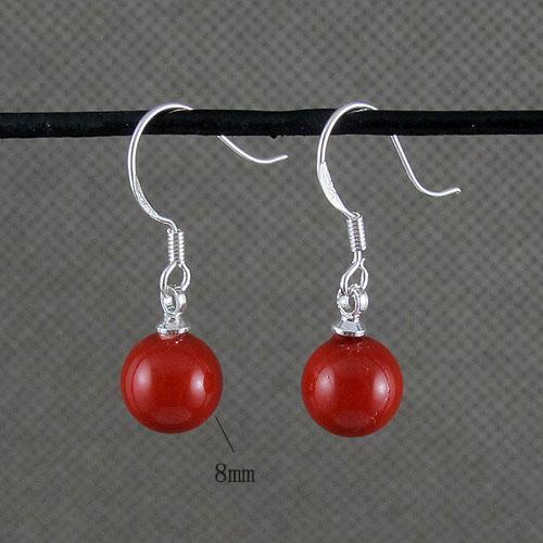 美しい赤い色の母なる真珠のイヤリングペンダント卸売女性のジュエリー送料無料A1475