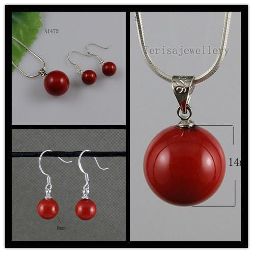 beautiful red color mother-of-pearl earring pendant wholesale woman's jewelry free shipping A1475