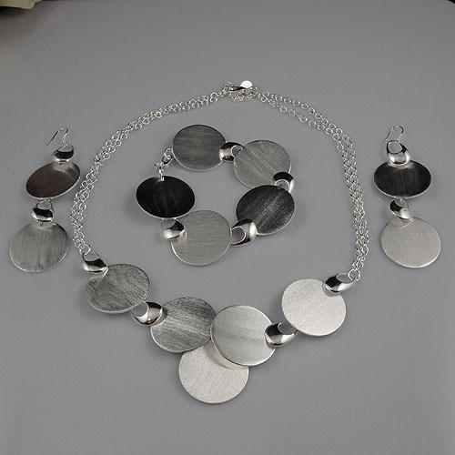 beautiful silver jewelry set necklace bracelet earring wholesale woman's jewelry A1476