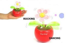 Wholesale Solar Flip - 5 pcs lot Swing Solar Flower,Magic Cute Flip Flap Swing Solar Flower, Car adornment,free shipping