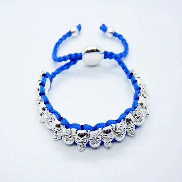 Fashion Blue Human Skeleton Handmade Friendship links bracelet 925 Silver Christmas gift 20pcs lot