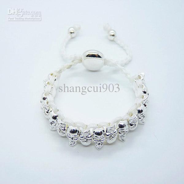 Fashion jewelry 925 Silver Knit Red Friendship Face Skull Mystic bangle bracelet